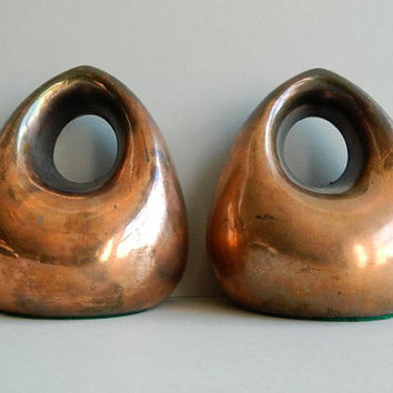 Ben Seibel Jenfred-ware Copper plated orb bookends