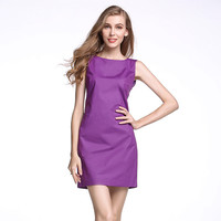 V-Backless Bow Sleeveless Shift Dress
