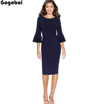 Women Flare Bell Sleeve Wear To Work Office Business Cocktail Party Bodycon Pencil Dress