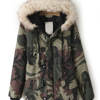 Army Green Camouflage Fur Hooded Pockets Coat | Cozno1: lastest womens fashion clothing,shoes,dresses shop online