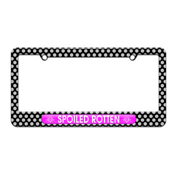 Spoiled Rotten - Diamonds Princess - License Plate Tag Frame - Polka Dots Design