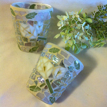 Mosaic Stained Glass Vases Vintage Hand Made Green and White Floral Design Candle Holders or Vases Set of 2 With Multicolored Tesserae Glass