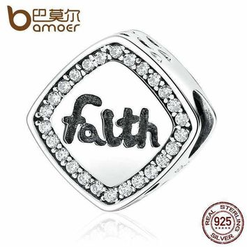"""BAMOER Friendship Gift 925 Sterling Silver Letter """"Faith""""  Bead Charms Fit Bracelets & Bangles Women DIY Fashion Jewelry SCC090"""