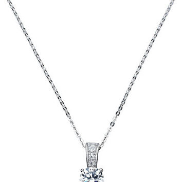 Crislu Platinum Finished Sterling Silver and Cubic Zirconia Drop Necklace