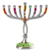 Aluminum Hanukkah Menorah with Unique Motif