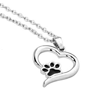 Hollow Pet Paw Print Necklaces Cute Animal Dog cat Memorial jewelry Pet Lover Puppy Paw