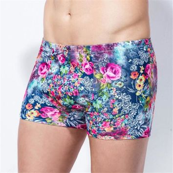 Soft Digital Floral Print Fitted Boxer Shorts