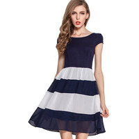 New Fashion Women Chiffon Blue And White Striped A Line Skater O Neck Short Sleeve Mini Dresses With Lining 776