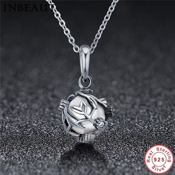 INBEAUT Women Chain Necklace 925 Sterling Silver Elegant Pearl Pendant Female Antique Plant Charm fit Pandora Bracelet Princess