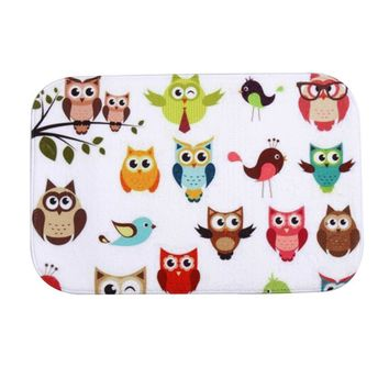40 x 60cm Cute Owls Print Welcome Mat Outdoor Indoor Festive Decor Doormat Happy Gifts High Quality Coral Fleece