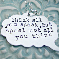 Hand Stamped Necklace Thought Bubble Necklace Speech Bubble Necklace Inspirational Message Necklace