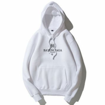 Balenciaga Tide brand classic double B letter printing men and women loose plus velvet hoodie white