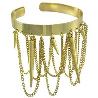 Gold Tone Arm Cuff Bracelet with Chains and Spikes