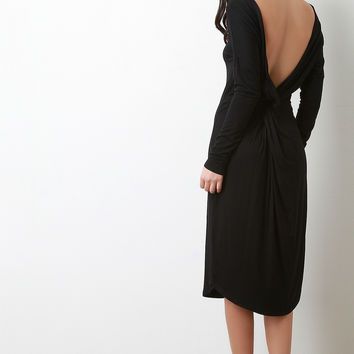 Twisted Backless Long Sleeve Shift Dress