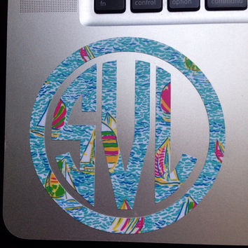 Lilly Pulitzer Monogram {Inspired} Laptop Decal Monogram Sticker 4 Inches