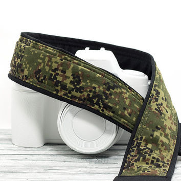 Camo Camera Strap, Fits dSLR, SLR and Mirrorless Cameras, Pocket, Camera Neck Strap, Mens Camera Strap, Nikon or Canon, Camouflage,  221 w