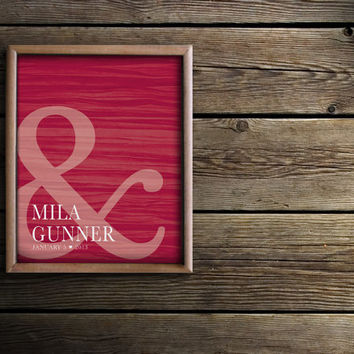 Red Love Mr. and Mrs. His & Hers Ampersand Heart Wedding Present Gift - Bride and Groom Decor - First Names / Wedding Date - Love Art Print