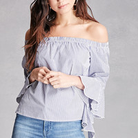 Pinstriped Off-the-Shoulder Top
