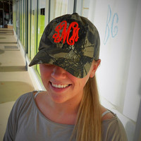 REAL TREE Camo Hat Monogram Font Shown INTERLOCKING