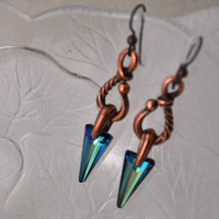 Crystal Earrings, Spike Earrings, Dangle, Bermuda Blue, Swarovski Crystals, Niobium Ear Wires, Blue Crystals