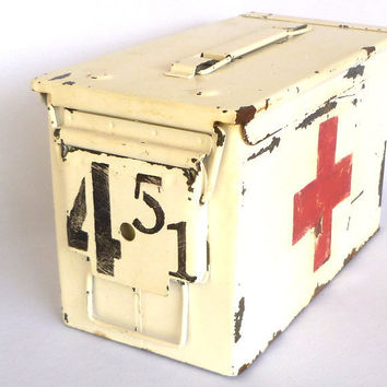 Vintage Ammo First Aid Box by orangedoorcottage on Etsy