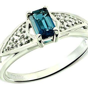 RB Gems Sterling Silver 925 Ring Genuine London Blue Topaz 081 Carat with RhodiumPlated Finish
