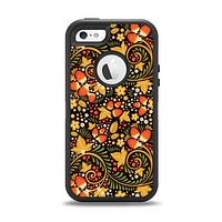 The Colorful Floral Pattern with Strawberries Apple iPhone 5-5s Otterbox Defender Case Skin Set