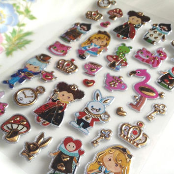 Alice's adventures in wonderland Glitter sticker cartoon fairy tale princess Queen of Hearts rabbit magic world sticker deco gift card