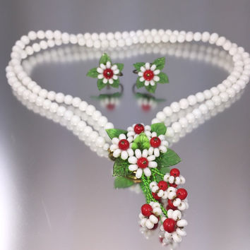Milk Glass Flower Necklace Earring Set - Vintage 1950s Signed Japan, Haskell Style