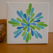 Painting Aqua and Lime Green Flower Aboriginal Inspired by Acires
