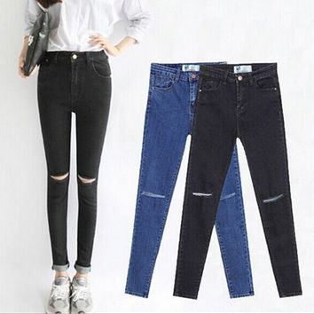 2015 Summer High Waist Jeans Woman Skinny Pencil Pants Slim Denim Ripped Jeans For Women Elastic Ripped Jeans Denim Pants
