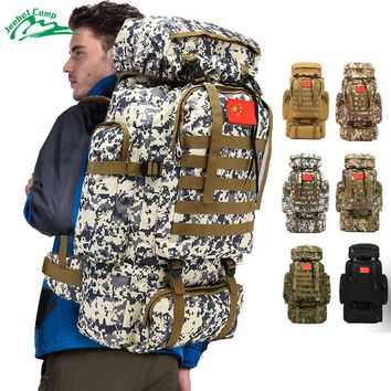 Jeebel 70L 600D Camping Hiking Mountaineering Backpack Military Molle Camo Waterproof Tactical Bag Adjustable Large Capacity