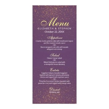 Chic Purple and Gold Glitter Sparkle Wedding Menu
