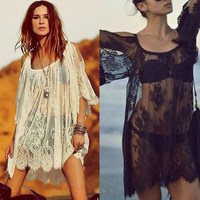 Feitong Remarkable Hippie Boho People Embroidered Floral Bohemian Lace Crochet Beach Wear Mini White\Black Dress = 1928476100
