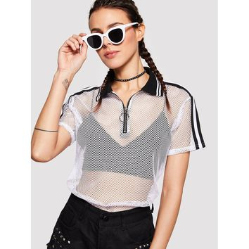 Zip Up Striped Fishnet Top without Bralette