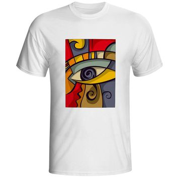 The Medieval Times Retro Style Abstract Art Artwork Painting T-shirt Hip Hop Creative Punk T Shirt Style Print Cool Men Top
