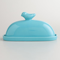 Aqua Bird Ceramic Butter Dish - World Market
