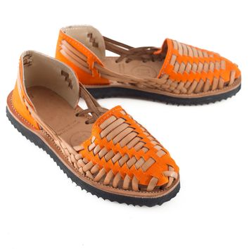 Women's Orange Woven Leather Huarache Sandals