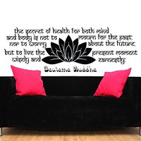 Wall Decal Quote Vinyl Sticker Decals Quotes Buddha Decal Quote The Secret of Health Lotus Flower Wall Decor Bedroom Yoga Studio Decor ZX227