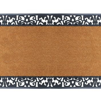 Rubber and Coir Floral Border Doormat