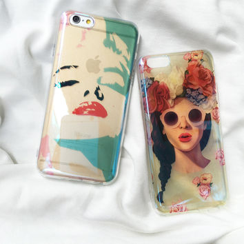 New Arrival Blue Ray Sexy Woman Marilyn Monroe Phone Case For iPhone 6 6S 6SPlus 4.7 5.5inch Coque Back Cover Flowers Girl