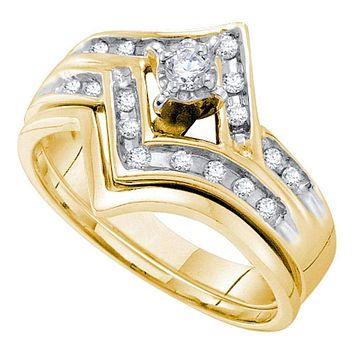 14kt Two-tone Gold Women's Round Diamond Chevron Bridal Wedding Engagement Ring Band Set 1/4 Cttw - FREE Shipping (US/CAN)