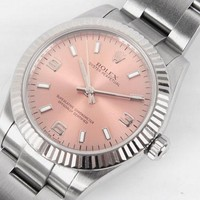 Mint Rolex oyster perpetual 177234 18K white gold & SS 31mm Pink Auto Watch