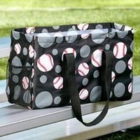 Baseball Sport Multi-Pocket Utility Tote Bag Great For Sporting Events Sport Mom