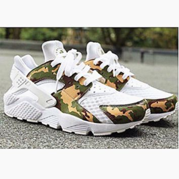 NIKE Huarache White Conttast Camouflage Green Casual Shoes Sneakers Sapphire blue G-AA-SDDSL-KHZHXMKH