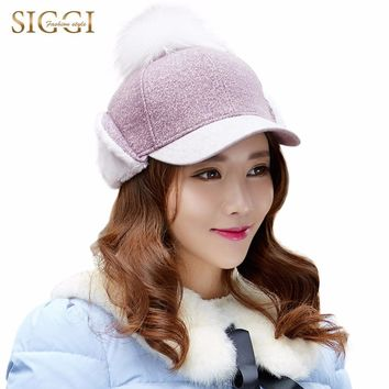 SIGGI Women Wool Baseball Cap Earflap Snapback Adjustable Hat Hip Hop with pompom 69247