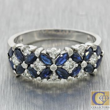 Vintage Estate EFFY 14k White Gold 0.85ct Sapphire 0.46ct Diamond Band Ring