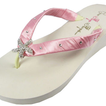 Bridal Flip Flops with Rose Pink Satin Starfish & Swarovski Rhinestones