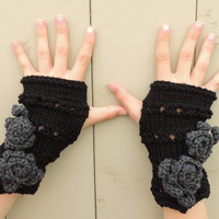 Rose Onie Fingerless gloves, Black with Grey Roses hand warmers, Knitted, Crocheted Gloves, Black & Grey fingerless gloves, Rose Hand Warmer