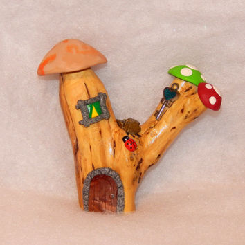 Toadstool Fairy house Ornament - polymer clay fairy house- miniature fairy garden - Dolls and Miniatures - clay sculpture